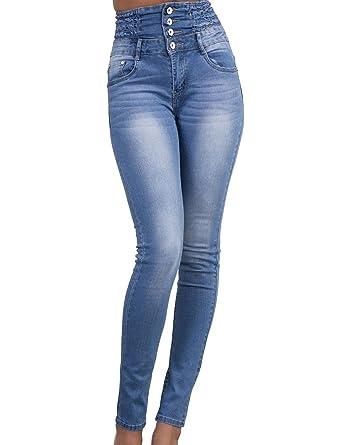 Dame Pantalons Stretch Femmes Denim Mesdames Jeans Bleu Casual wNvmn0OP8y