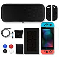 SUNKY Nintendo Switch Case Accessories Pack, Protective Hard Shell Travel Carrying Bag Pouch with 24 Game Cartridges, Earphone, HD Tempered Glass Screen Protector, Silicone Joy-Con Case, Analog Cap