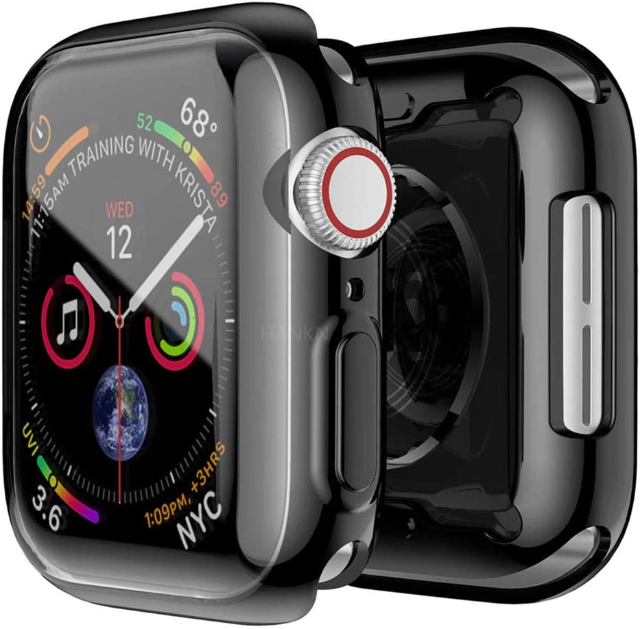 Hankn for Apple Watch Case Screen Protectors Series 5 Series 4, Soft TPU Full Front Plated All-Around Shockproof Slim Bumper Smartwatch Cover for Apple iWatch Series 5 4 (Black, 44mm)