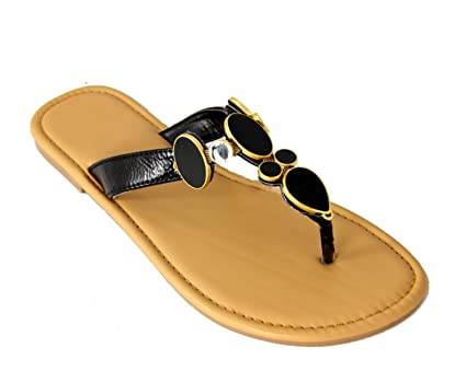 6edf8ed553d9 Image Unavailable. Image not available for. Color  Avon Women s Stylish  Black Gem and Rhinestone Flip-Flop Thong Shoes - Size ...