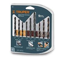 Truper JBMX-9 Juego de 9 Brocas para Concreto, Madera y Metal