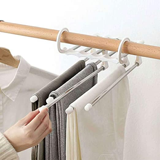 lailongp Magic Pants Rack Regale 5 en 1 Acero Inoxidable Percha multifunción, W, 34 x 14.5 x 7cm: Amazon.es: Hogar