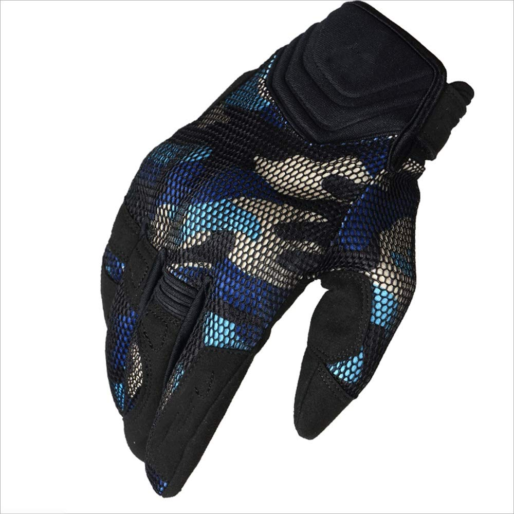 ZDYLL Sports and Outdoors Off Road Gloves Durability Cycling Bike Bicycle MTB DH Downhill Dirt Bike ATV & Motorcycle Glove Comfortable Fit (Color : Camouflage Blue, Size : L) by ZDYLL