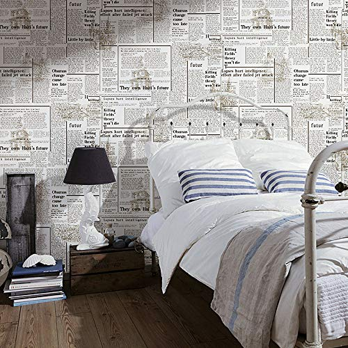 Blooming Wall: Faux Vintage Newspaper Pattern Wallpaper Roll for Livingroom Bedroom, 20.8 In32.8 Ft=57 Sq.ft (3251)