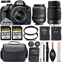 Nikon D3200 DSLR Full HD 1080p Camera + Nikon 18-55mm VR II Lens + Sigma 70-300mm Lens + 2 Of 32GB Class 10 Memory Card + UV Filter + Backup Battery - International Version