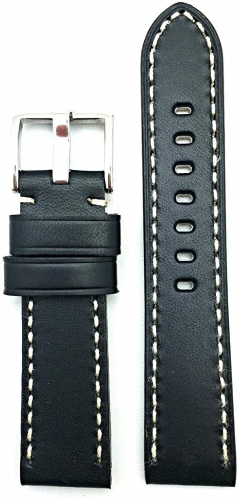22mm Black Leather Watch Band Compatible with Panerai Watch   Smooth, Solid, Thick Padded Replacement Wrist Strap Bracelet that brings New Life to Any Watch (Mens Standard Length)