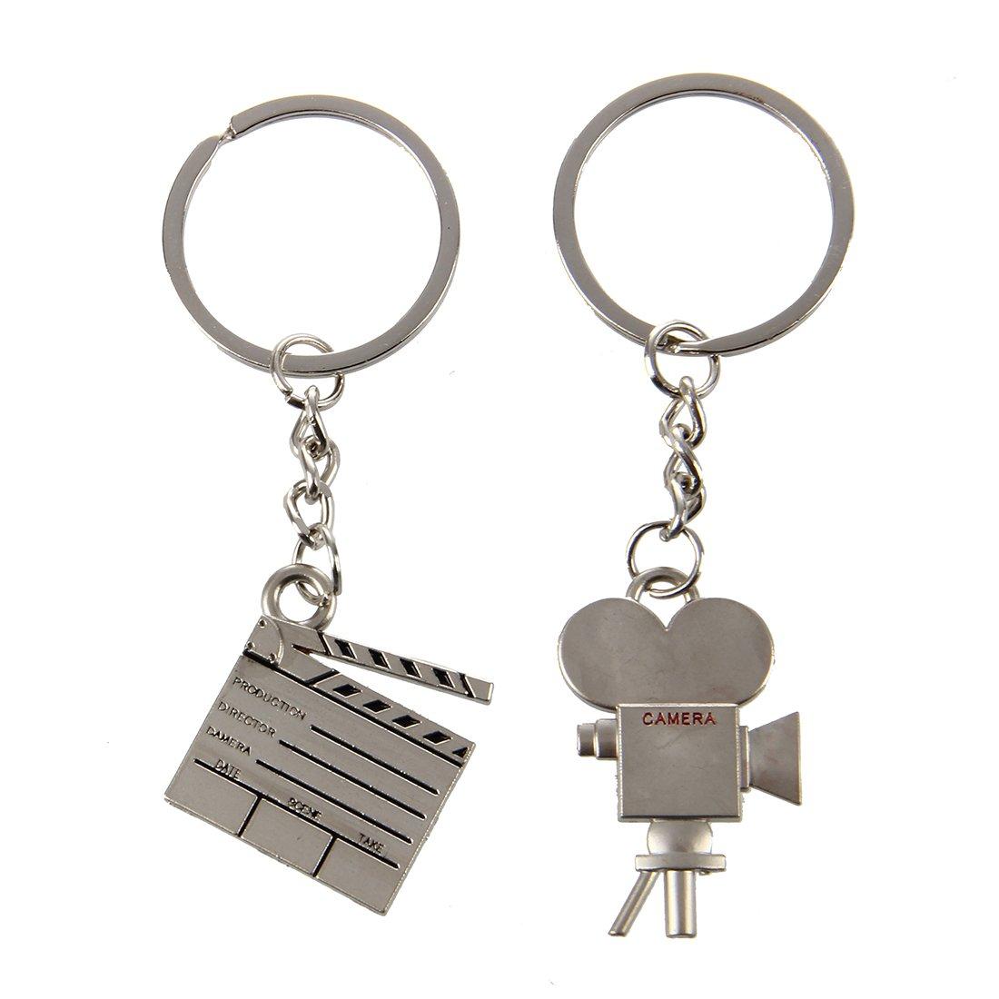 SODIAL(R) Silver Tone 2 Pcs Film Clipboard Camera Key Chain Ring
