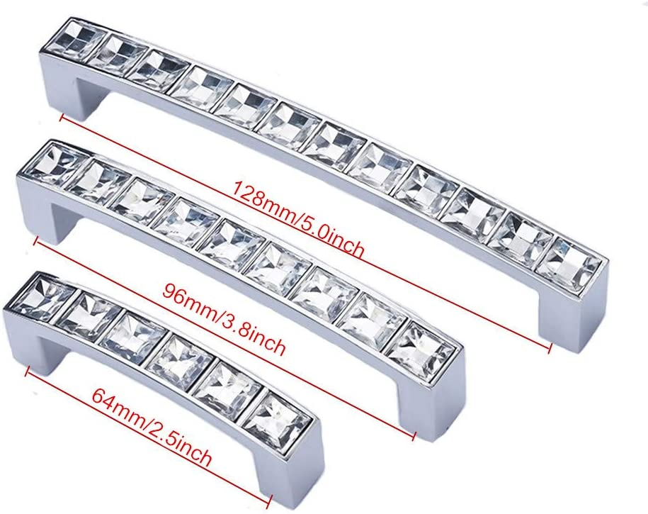Clear Silver 5 Length abcGoodefg Modern Decorated Crystal Glass Rhinestone Cabinet Handle Zinc Alloy 5.3 Hole Centers 5-Pack