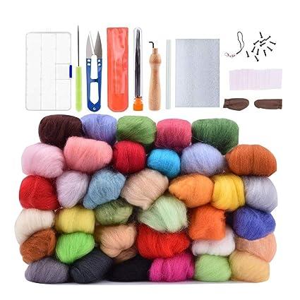 Amazon Com Wool Needle Felting Kit Beginner Set 36 Colors Wool