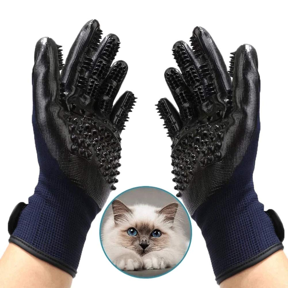 WE&ZHE Pet Grooming Gloves - Left & Right Cats, Dogs & Horses - Long & Short Fur - Gentle De-Shedding Brush - Pet to Float Hair Beauty Gloves,5PCS by WE&ZHE (Image #7)