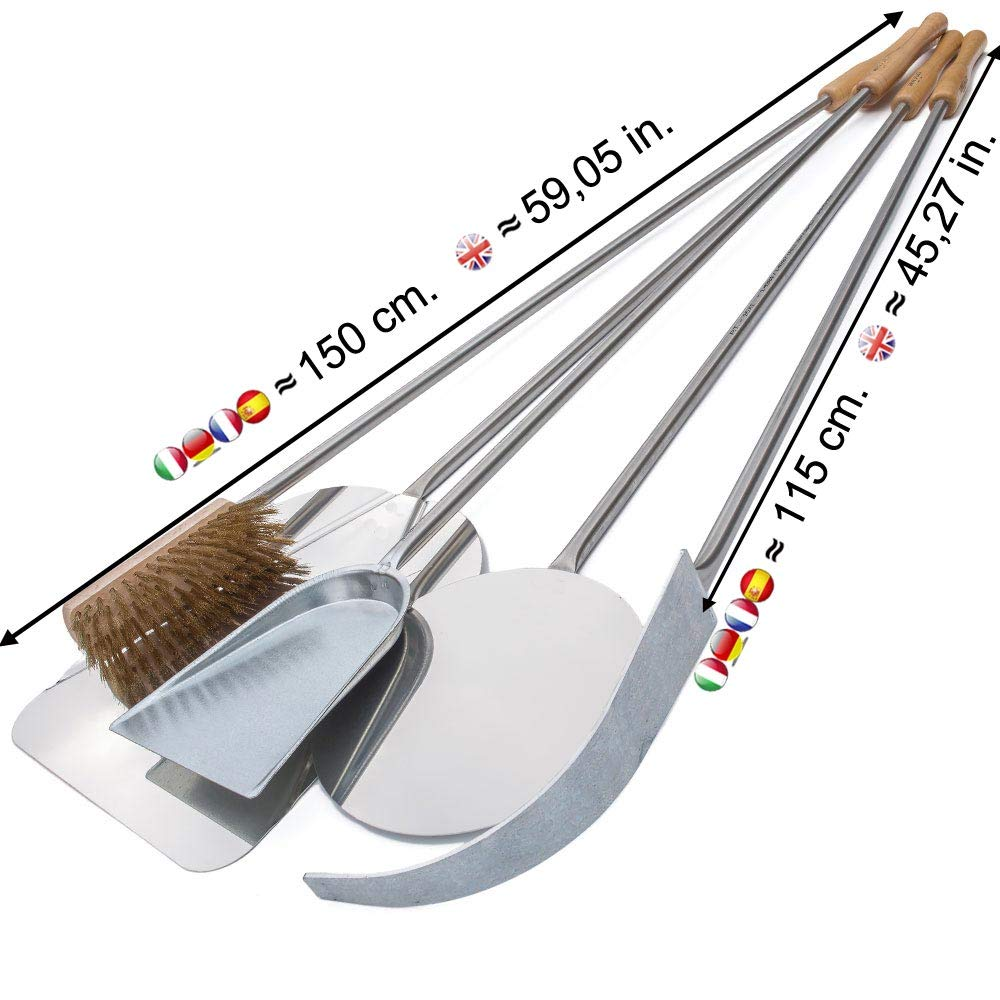 Total length 59,05 in Giemme Spoleto Pizza Peels Set of 5 Stainless Steel AISI 430 Pizza Peels Kit for Pizza Oven