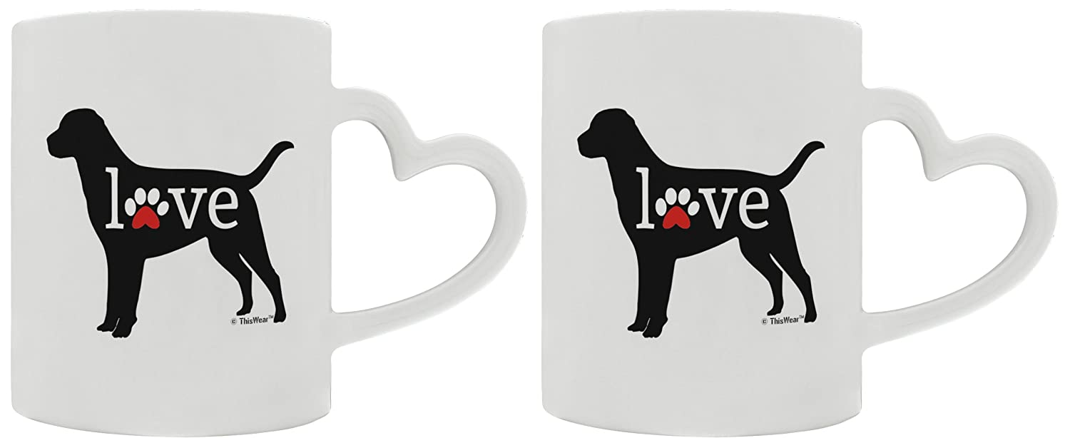 Labrador Retriever Gifts Love Dog Paw Prints Dog Owner Gifts Lab Dog Lover 2 Pack Heart Handle Gift Coffee Mugs Tea Cups Heart Handle