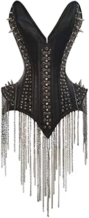 Black Real Leather Real Steel Bones Lace up Back Shaper Full Bust Spikes Corset