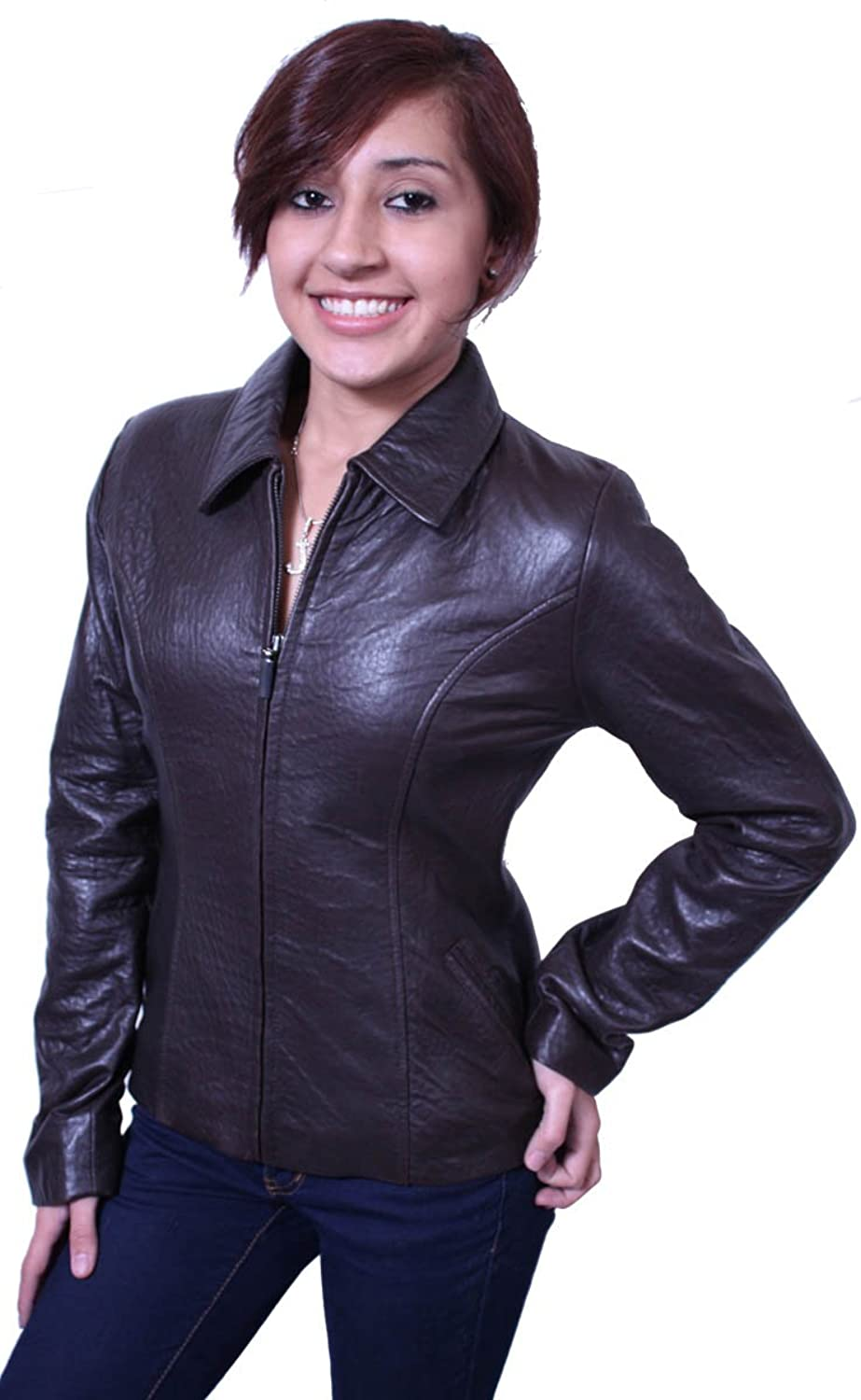 Womens Leather Jacket Genuine Lamb Leather Brown, Zipper Closure ...