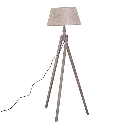 HOMCOM Lámpara de Pie Moderna para Dormitorio Estudio Salón con Luces E27 40W y Pulsador de Pie con Base Trípode Inoxidable 146cm