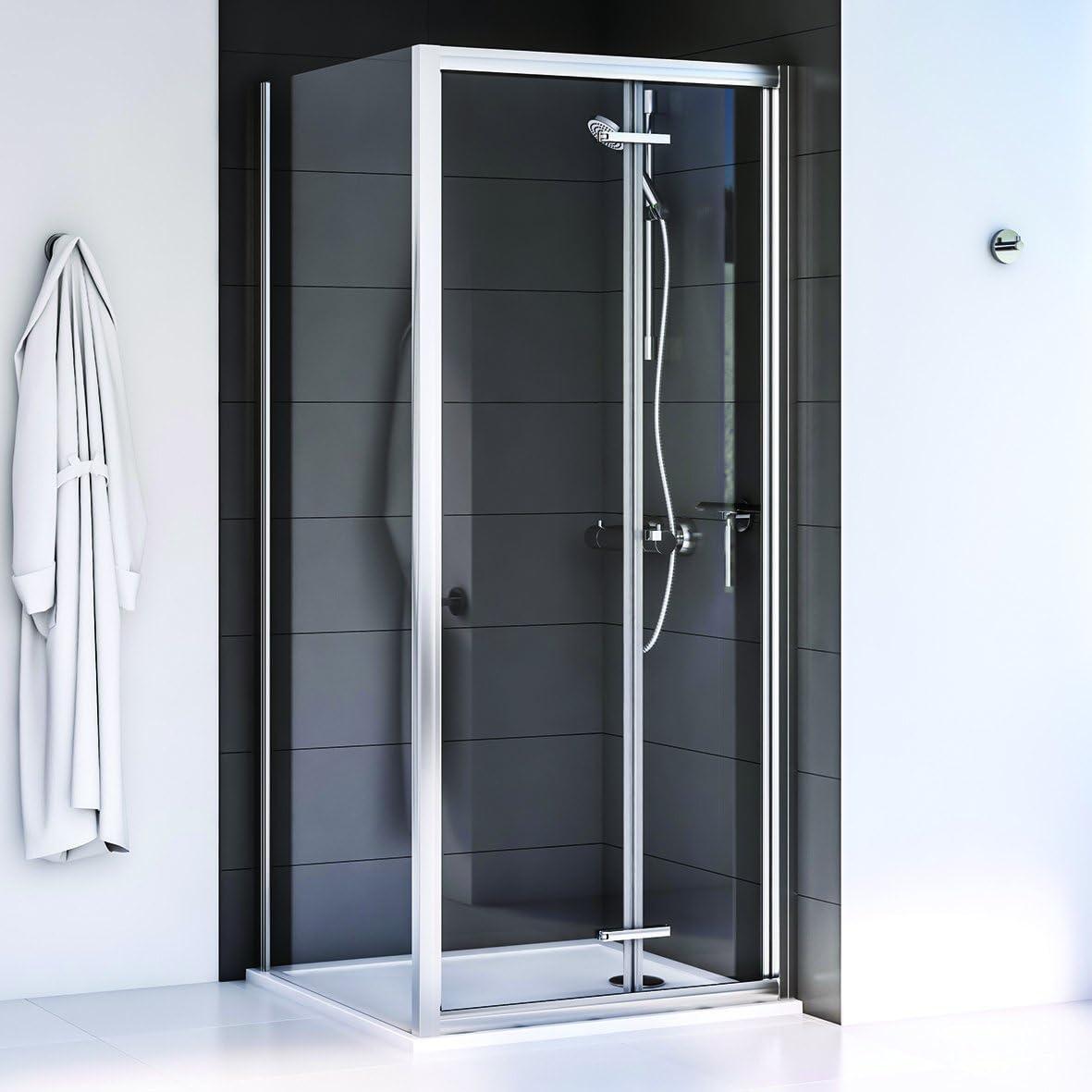 Aqualux 1193911 Bi-fold puertas de ducha y el Panel lateral), pulido Plata, 760 x 760 mm, set de 2 piezas: Amazon.es: Bricolaje y herramientas