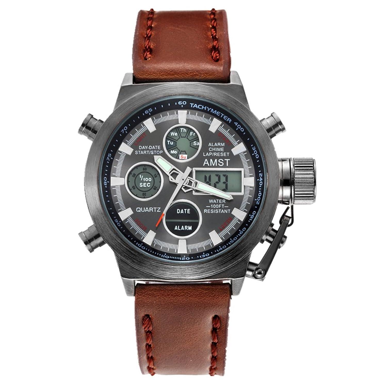 AMST 3003 Quarz Sport muti-functional Armbanduhr mit Analog & Digital Time Display (schwarz)
