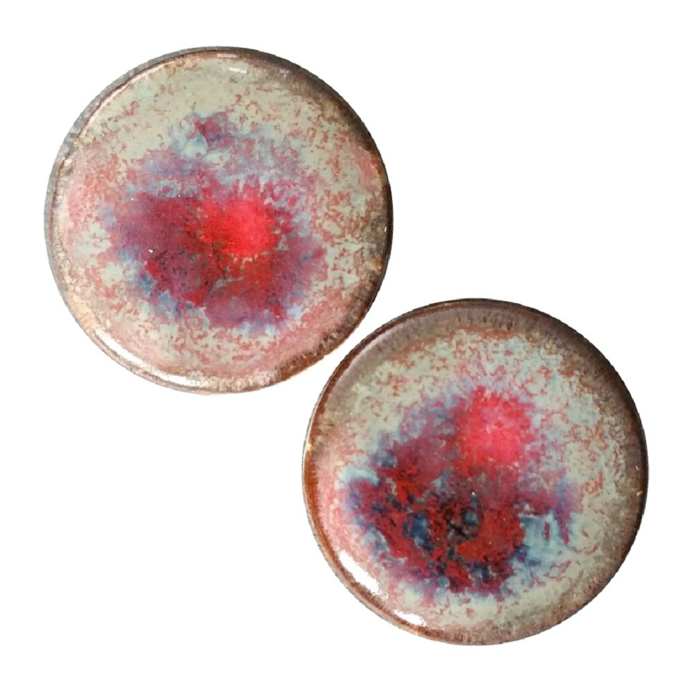 Pair - Artery Eruption Glass Ceramic Ear Plugs Organic Handmade double-flared gauges Essential Oil Diffuser (19mm 3/4in) by Imperial Plugs