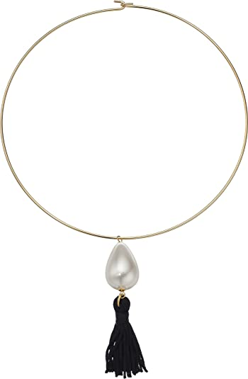 Kenneth Jay Lane Kenneth Jay Lane Woman Gold-tone, Crystal And Tassel Necklace Gold Size