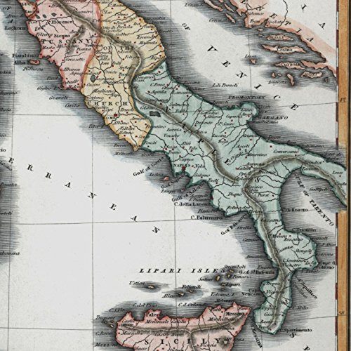 Italy Italia beautiful 1844 Walker antique hand color old map lovely example