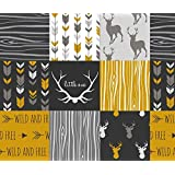 Woodgrain Fabric - Wholecloth Quilt Fabric- Ironwood -Gold,Charcoal ,Grey Deer, Antler, Arrows, Woodgrain Patchwork Squares by sugarpinedesign - Printed on Basic Cotton Ultra Fabric by the Yard