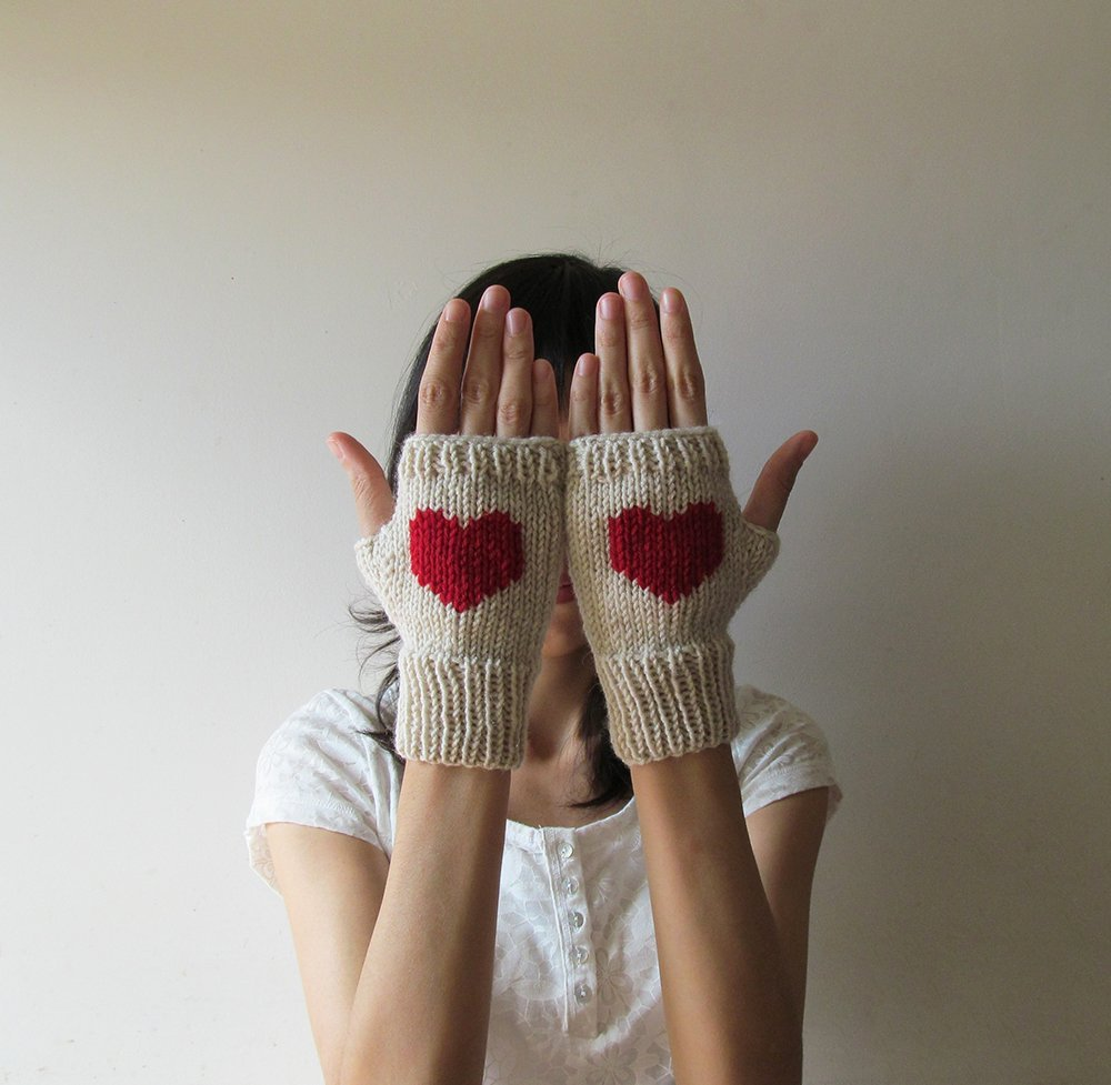 Knit Fingerless Gloves in Mushroom Beige, Dark Red Embroidered Heart, Heart Fingerless Gloves, Arm Warmers, Wool Blend