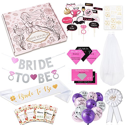 Complete Bachelorette Party Kit (124-Pieces) - Saving You Time and Money - Includes Bachelorette Party Games, Bridal Shower Decorations, Photobooth Props, Banner, Bride to Be Sash, Pin, Veil and Flash (Pin Breast Ribbon Care)
