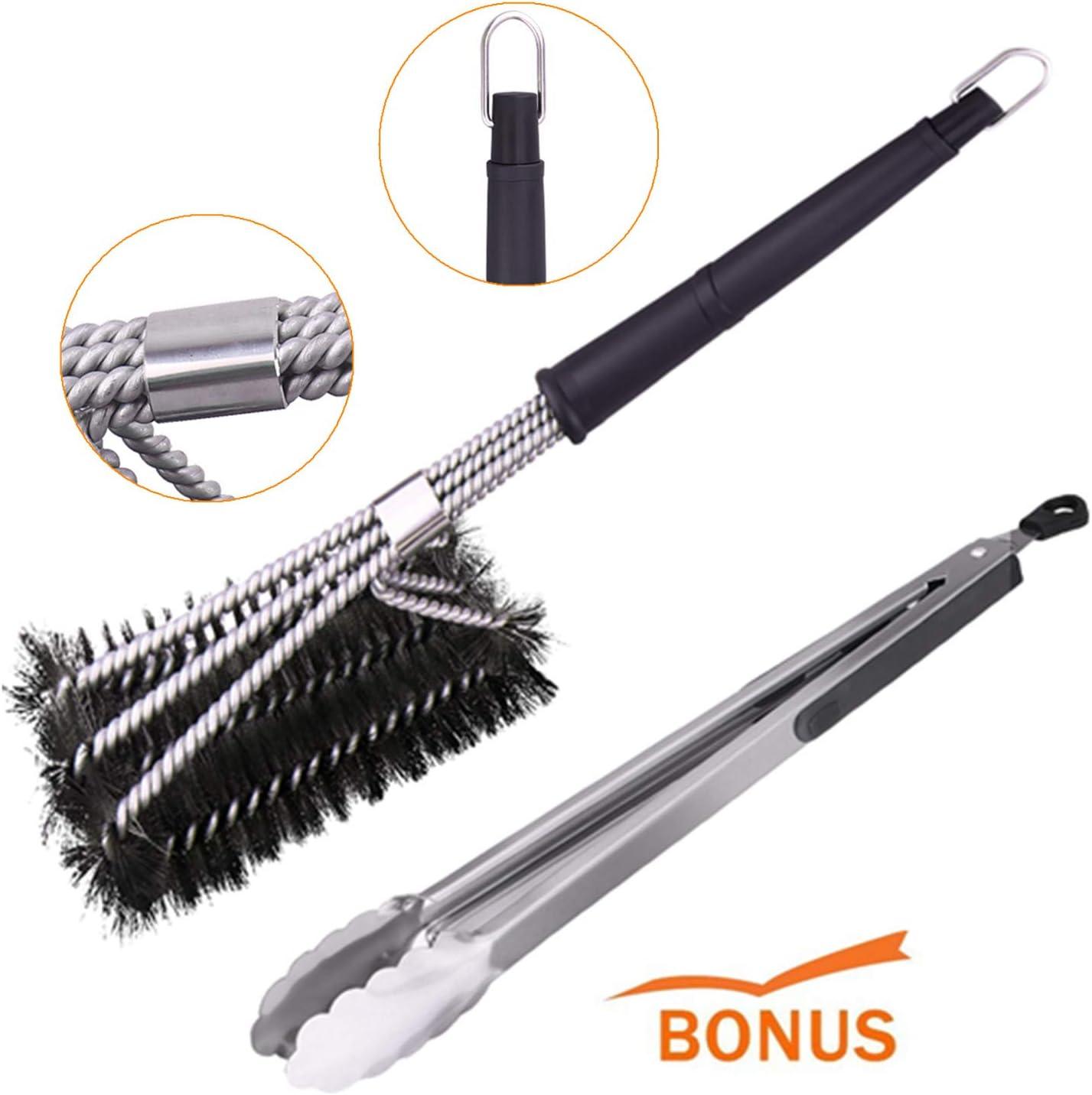 Fesoar Cepillo Barbacoa de Limpieza, 360° Cepillos de Acero Inoxidable, Profesional Cepillo para Uso Comercial, al Aire Libre y para Acampar