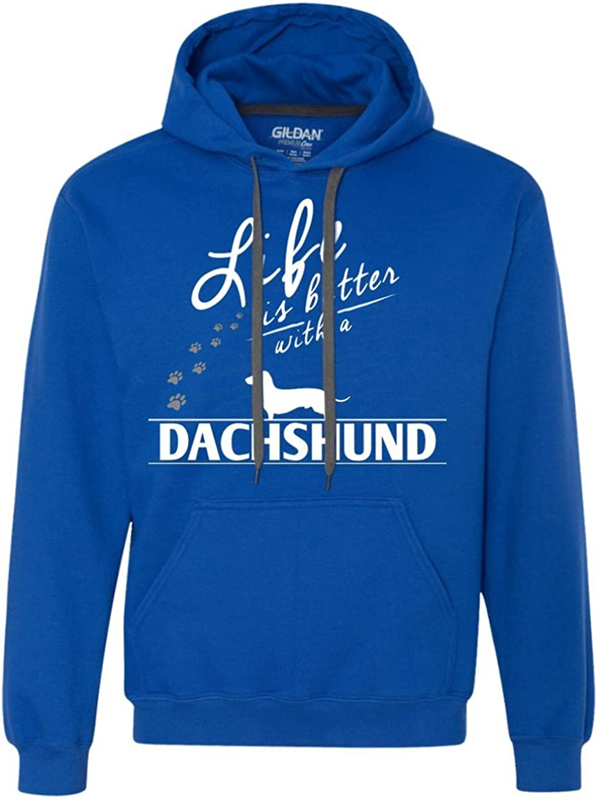 Heavyweight Pullover Fleece Sweatshirt Dachshund Life is Better with A Dachshund Paws