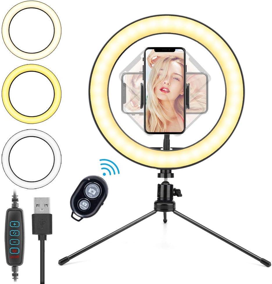 10.2´´ Aro de Luz LED, HOVVIDA 26cm Anillo de Luz para Móvil, 3 Colores, 10 Niveles de Brillo, Ring Light con Control Remoto para TikTok, Selfie, Maquillaje, Video