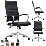 2xhome - Black - Modern High Back Tall Ribbed PU Leather Swivel Tilt Adjustable Chair Designer Boss Executive Management Manager Office Conference Room Work Task Computer