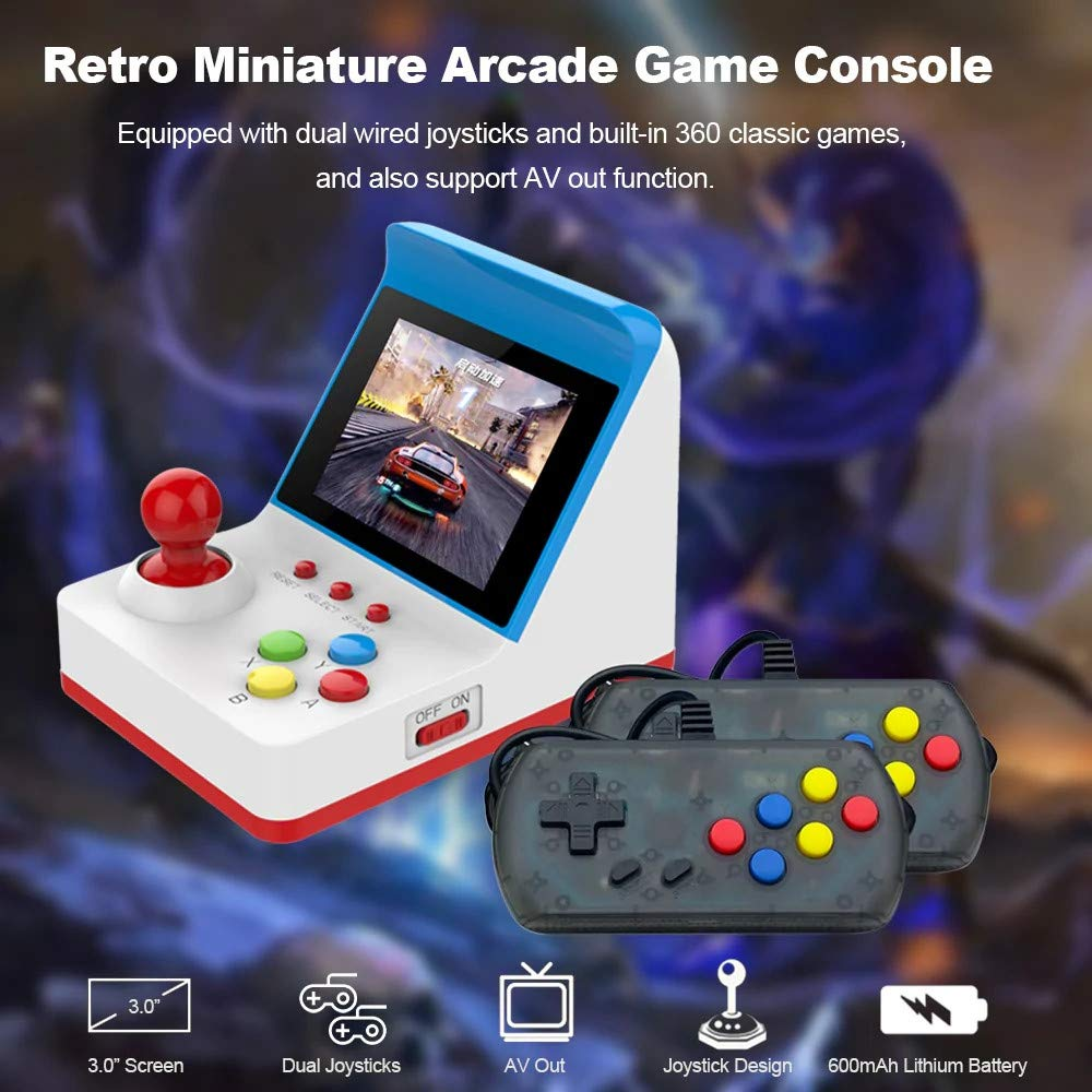 Elaco Classic Nostalgia TV Video Games,3.0 Inch HD Screen Mini Arcade Game Retro Machines for Kids with 360 Classic Video Games Home Travel Portable Gaming System Childrens Tiny Toys