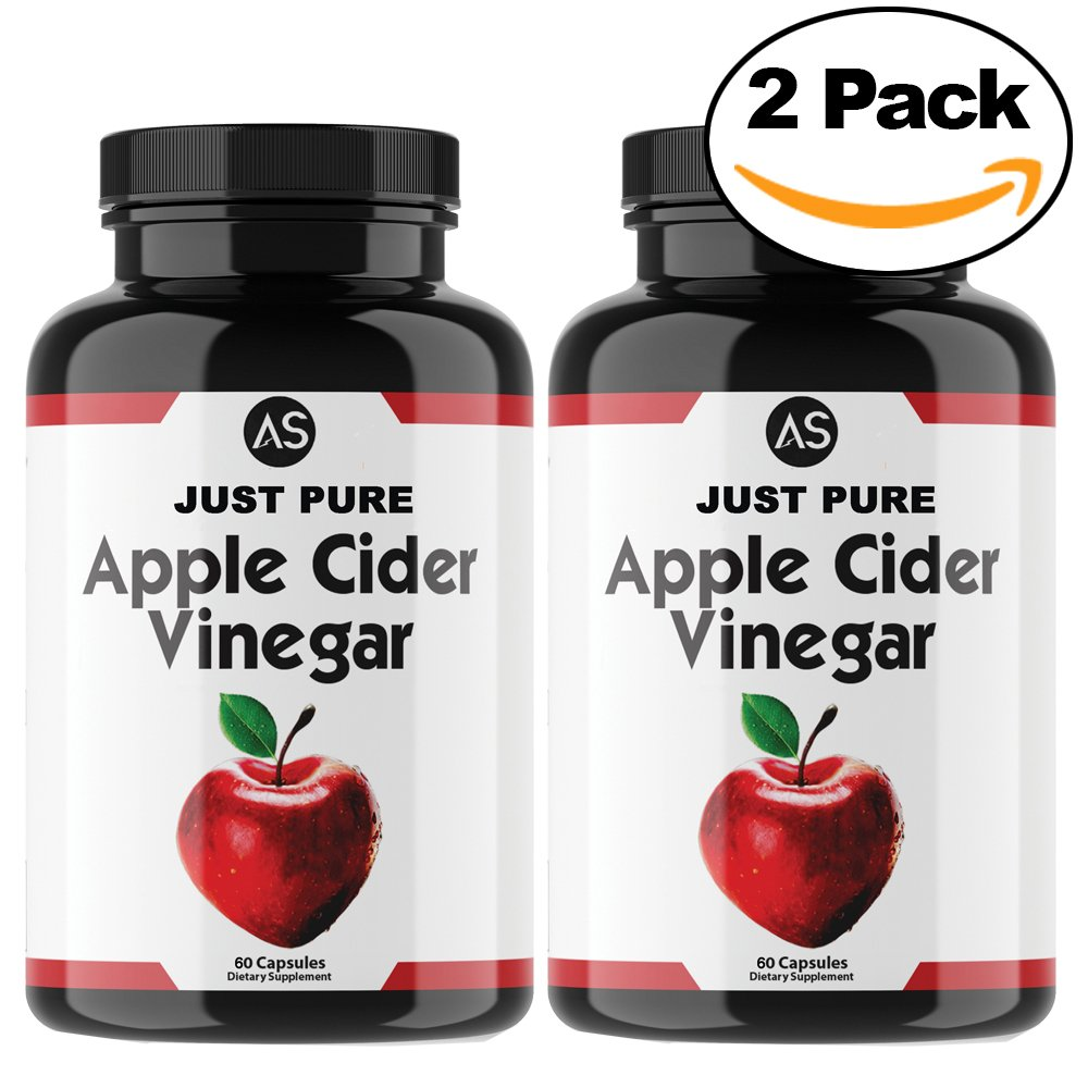 Angry Supplements Just Pure Apple Cider Vinegar Capsules for Weight Loss - Natural Detox Remedy with 1300 mg Apple Cider Vinegar per Serving, Best Complete Diet and Health Pill Kit,(2-Pack/120ct)
