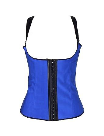 69c32d6c13bcd ohyeah Women s Bustier Steel Boned Latex Waist Trainer Vest Plus Size  Corset Blue ...