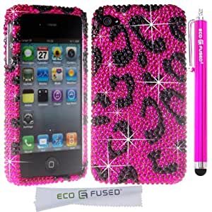 Glamour Series Bling Crystal Rhinestone iPhone Snap on Case Cover Skin (Hot Pink Leopard) for iPhone 4 4G 4S / 1 (Hot Pink) Stylus Pens / 2 Screen Protectors - ECO-FUSED® Microfiber Cleaning Cloth Included (Hot Pink Leopard Case)