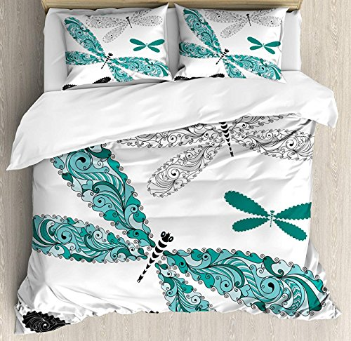 (Crystal Emotion Dragonfly 4Pieces Home Comforter Bedding Sets Duvet Cover Sets Bed Sheet Bedspread for Adult Kids,Flat Sheet,Pillow Shams Set, Queen Size)