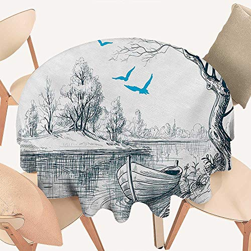 W Machine Sky Landscape Wrinkle Free Tablecloths Boat on Calm River Trees Birds Twigs Sketch Drawing Clipart Water Minimalist Round Tablecloth D 50