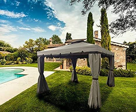 LuxuryGarden - Cenador de jardín de 3 x 4 metros, de aluminio con tela impermeable de poliéster y PVC - Color crudo, con 4 paredes laterales de tela con mosquiteras - ModeloAlicante: Amazon.es: Jardín