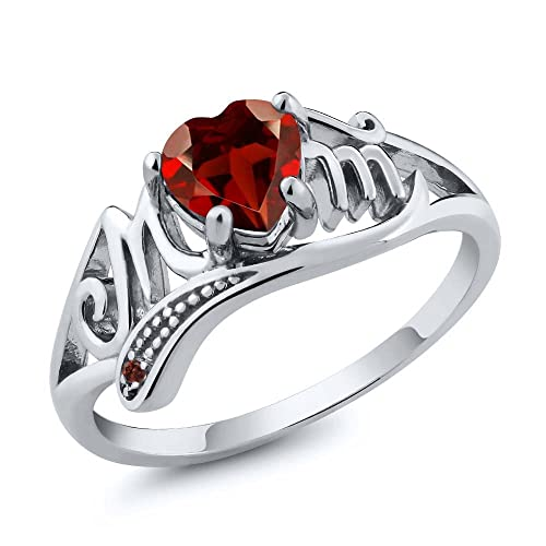 Gem Stone King 925 Sterling Silver Red Garnet Gemstone Mothers Day MOM Ring 0.56 Ct Heart Shape Available 5,6,7,8,9