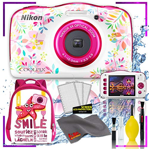 Nikon Coolpix W150 Digital Camera – Flowers (International Model) with Camera Cleaning Kit Bundle + Nikon Camera Backpack (Pink)