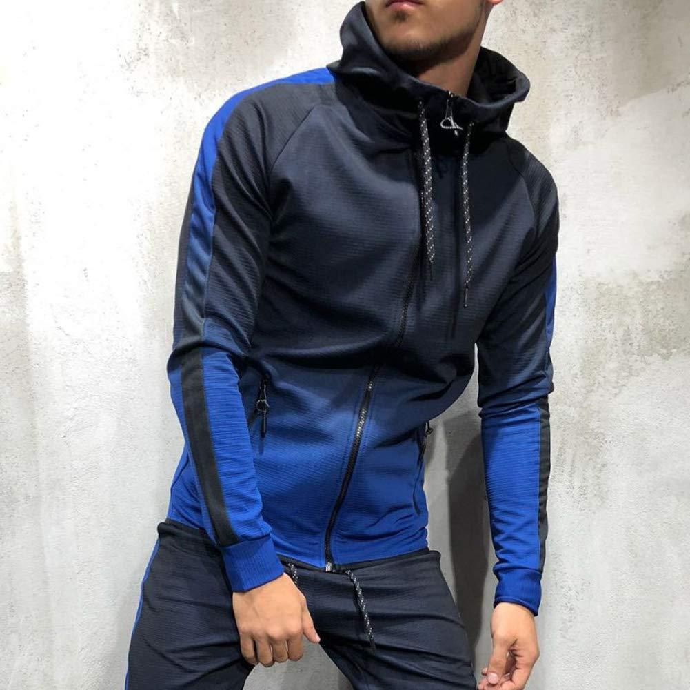 Men Gradient Pullover Hoodies Autumn Hooded Sweatshirt Long Sleeve Zipper Sport Jacket Coat