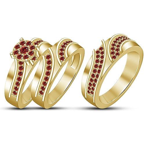 Lilu Jewels Juego de 3 anillos de compromiso de plata de ley 925 bañados en oro
