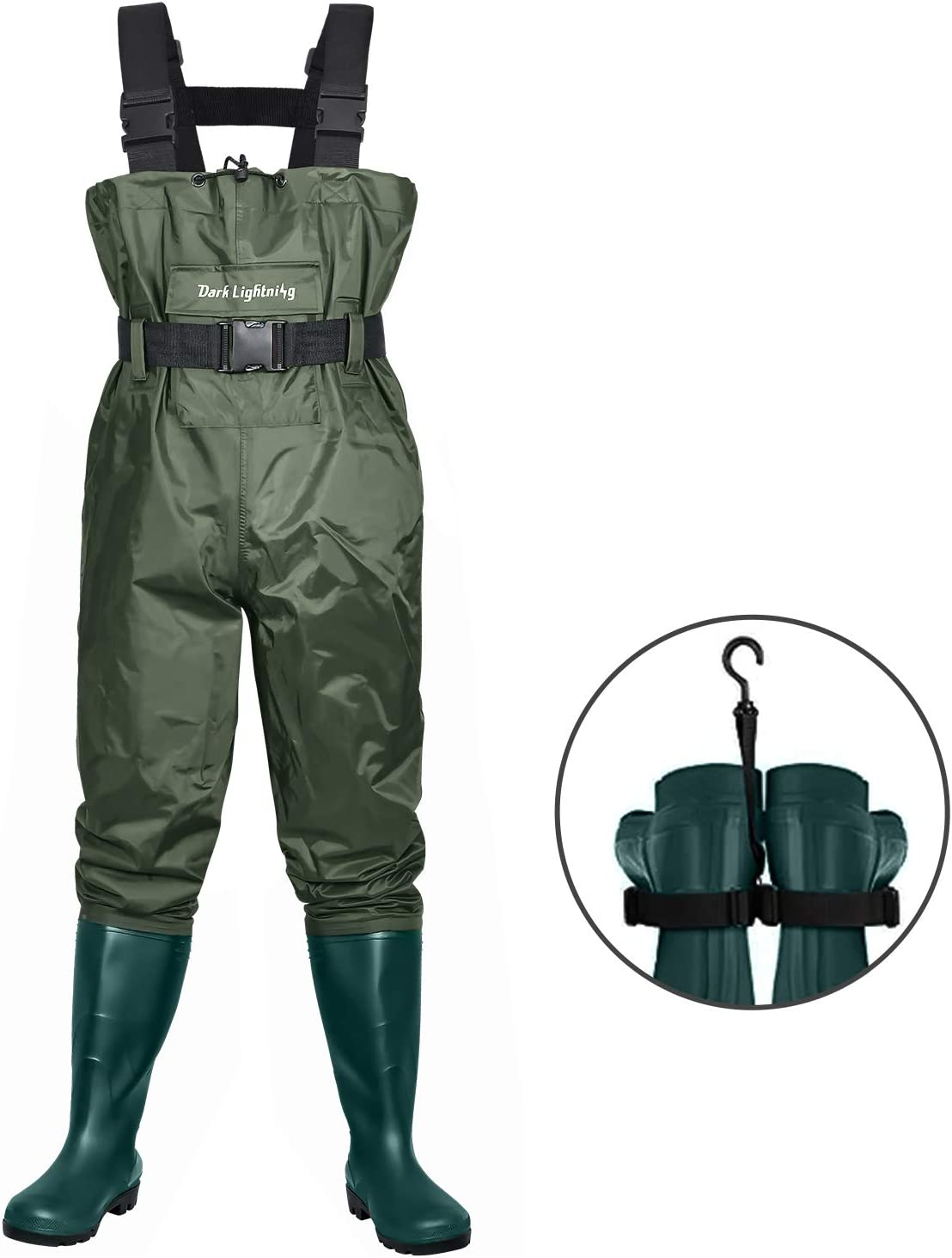 Dark Lightning Fly Fishing Waders for Men and Women with Boots, Mens/Womens High Chest Wader with Boot Hanger : Sports & Outdoors
