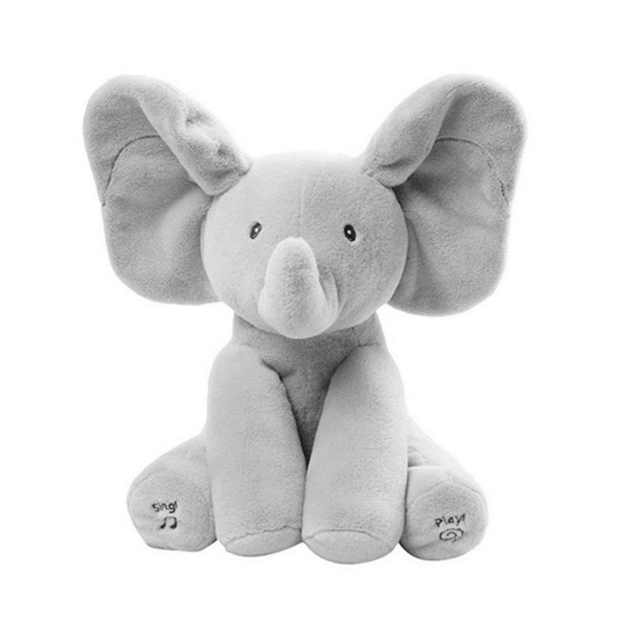 Peek-A-Boo Plushies elephanté™ flappy ear elephant plush toy SINGS 4 NURSERY RHYMES and PLAYS PEEKABOO with your baby