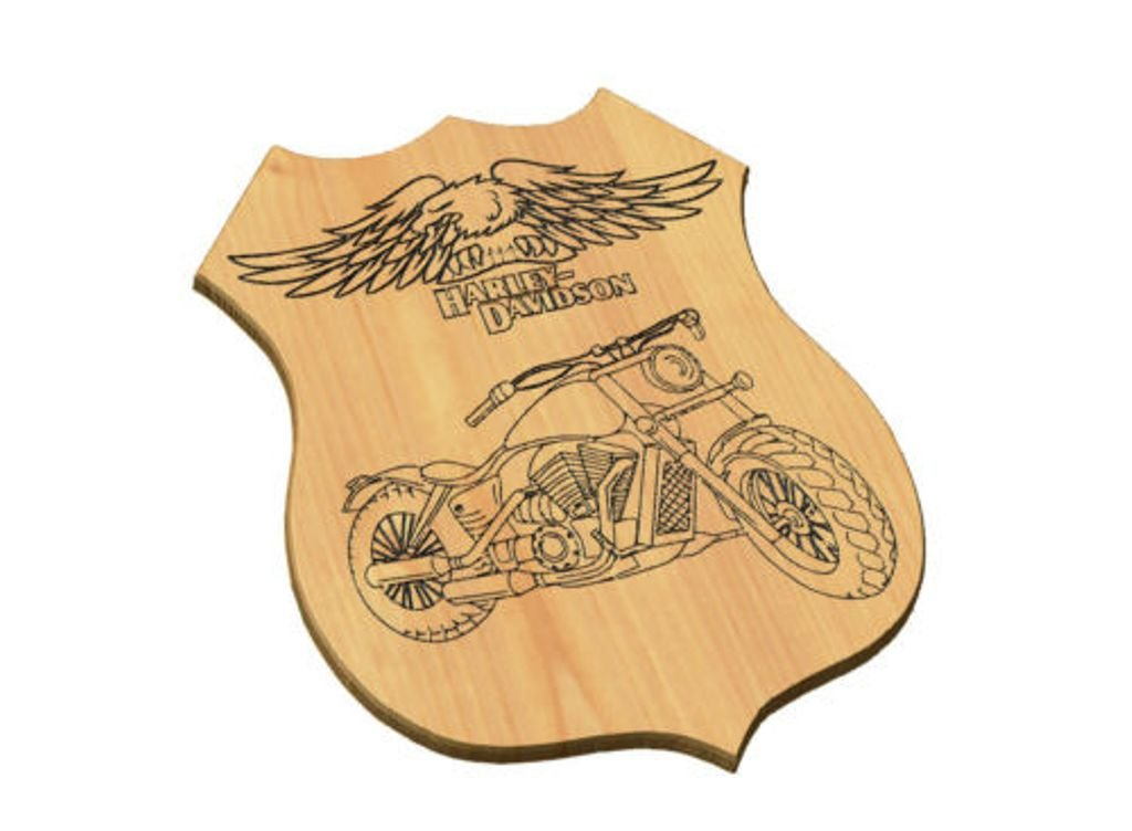 Desconocido Generico Marco casa de Madera Grabado Moto Harley ...