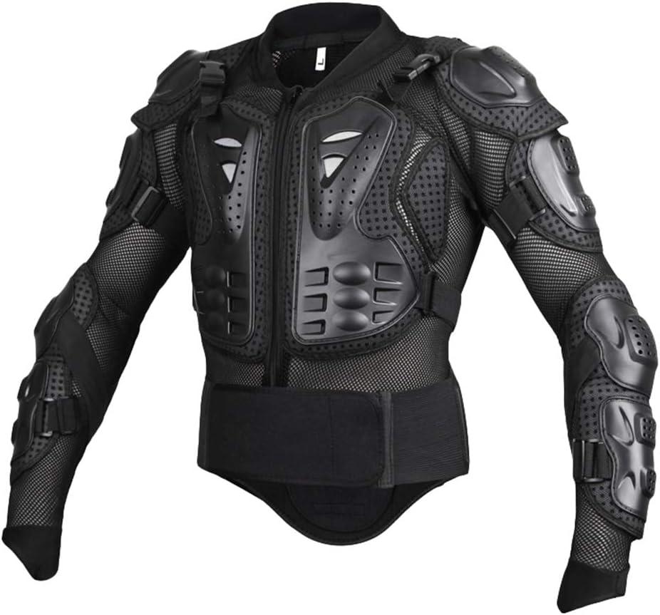 Yuanu Motos Coraza, Montaña Ciclismo Patinaje Snowboarding Armadura, Peto de Motocross con Protección de Pecho y Espalda Negro S