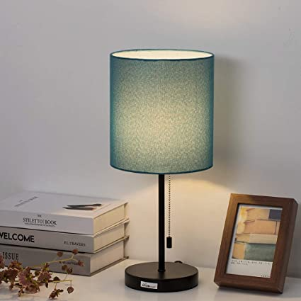 HAITRAL Modern Table Lamp - Simple Desk Lamp with Fabric Shade, Pull Chain  Switch Stick Lamp for Bedroom, Living Room, Office Den - Light Blue ...