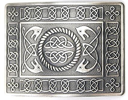 Highland Swirl Celtic Knot Kilt Belt Buckle Brushed Antique Finish