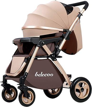 Opinión sobre El cochecito de bebé es compacto y plegable para facilitar su transporte, se puede sentar o reclinar en dos direcciones, cinturón de seguridad de cinco puntos, freno de pie de frenado rápido