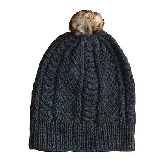 2d46c61e0a5 SIJJL Faux-Fur Pom Pom Slouchy Beanie (Grey) at Amazon Women s Clothing  store